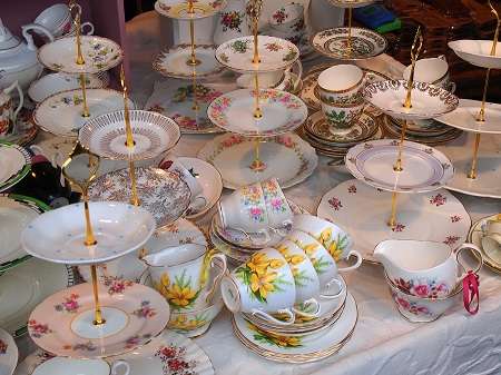 Selection of vintage tea cups & cake stands