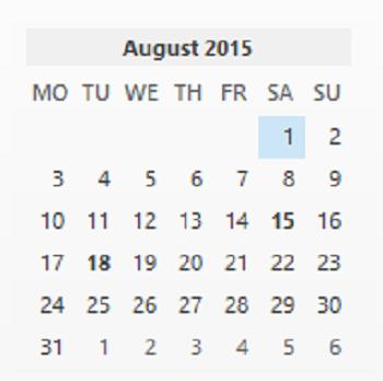calendar - August 2015