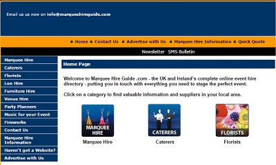old home page of marquee hire guide