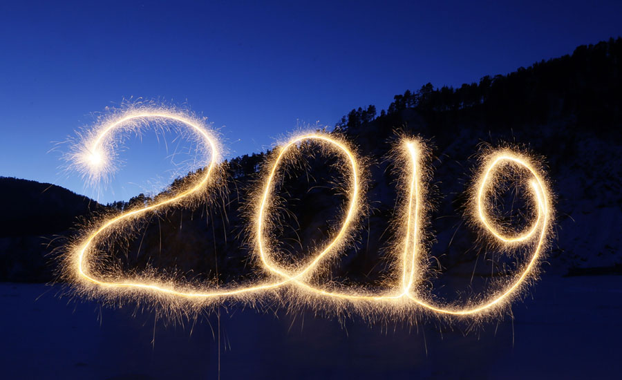 "The numbers ""2019"" are written in the air with a sparkler near a tourist camp outside Krasnoyarsk"