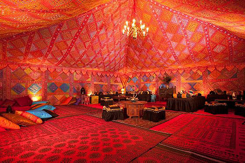 Colourful Moroccan themed interior – image courtesy of the Arabian Tent Company