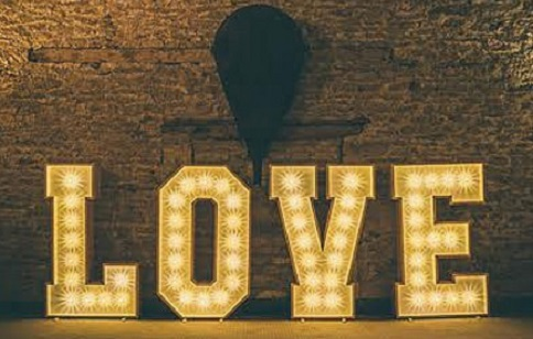 LOVE in light-up letters